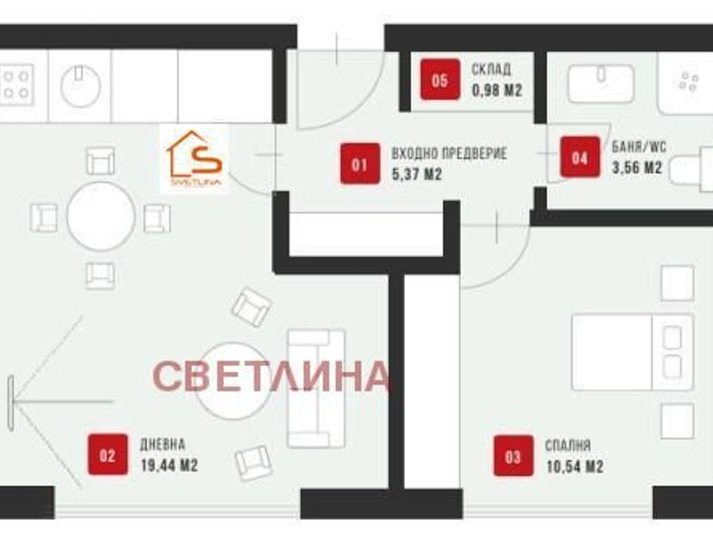 двустаен апартамент софия 7xv32klw