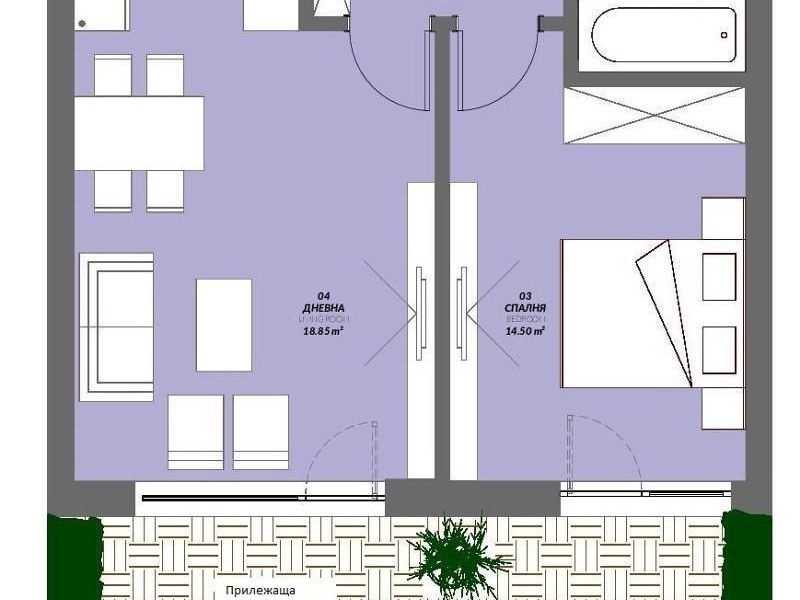 двустаен апартамент софия b62drq4c