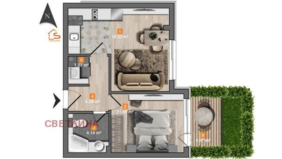 двустаен апартамент софия bqbne7an