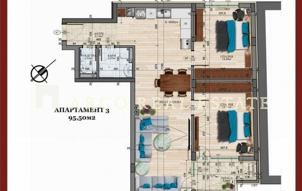тристаен апартамент софия 58162rux