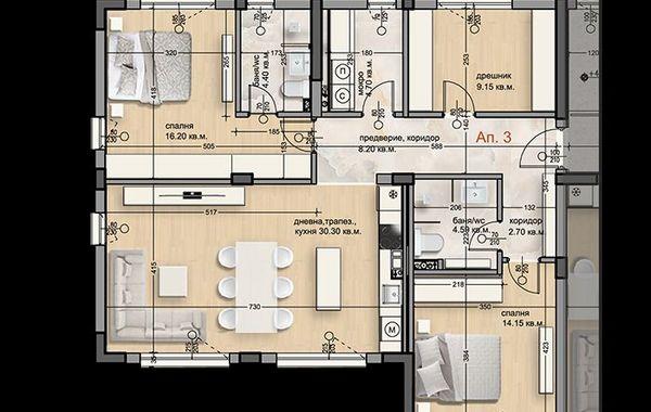тристаен апартамент софия b55ewamt