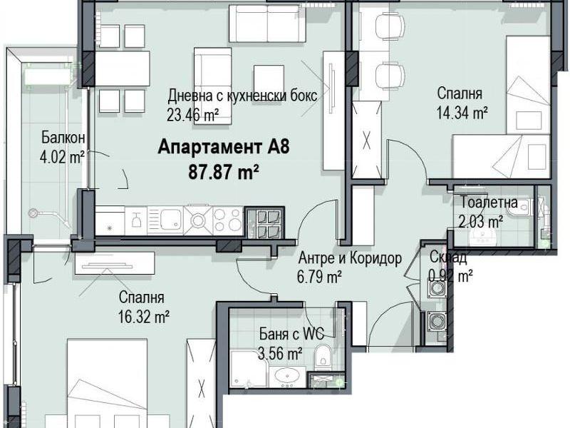 тристаен апартамент софия c132vq89